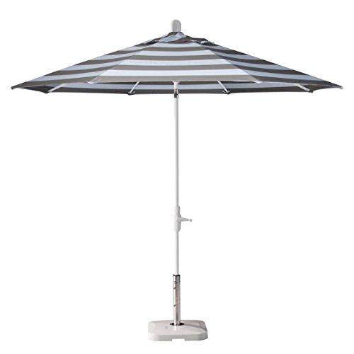 Secret Garden Home Goods Zuma Shore 9ft Round 360 Rotating Shade Auto Tilt Market Umbrella (White Sand, Sunbrella- Mocha Stripe)