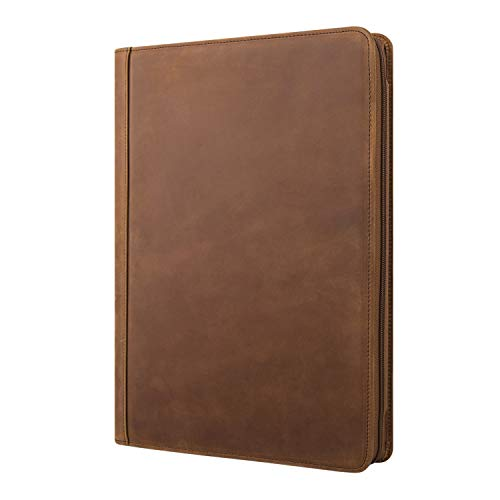 Asini RFEE Name Engraved Padfolio, Personalized Vintage Leather Binder Portfolio Folder,Custom Gift for Men and Women (Custom, Vintage Brown)