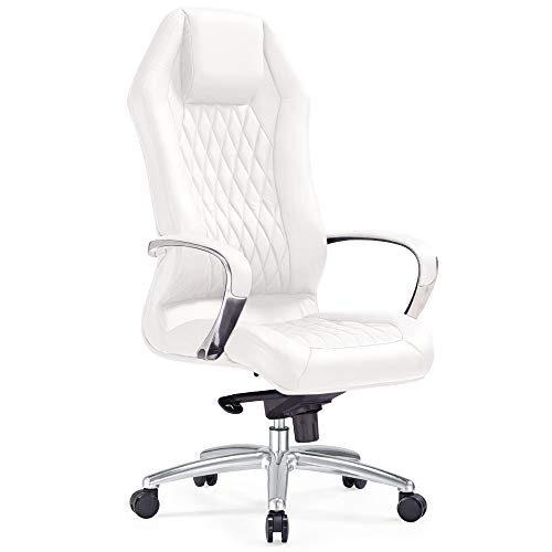 (Modern Ergonomic Sterling Leather Executive Chair with Aluminum Base- White )
