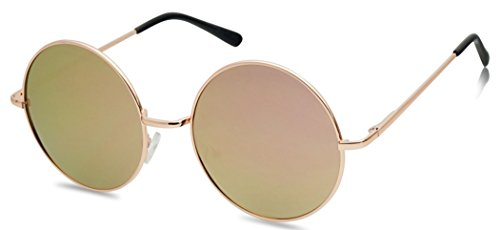 55mm Large Circular Retro Round Flat Mirrored Hippie Circle Sun Glasses (Rose Gold / Pink Lens, - Rose Sunglasses Men Gold
