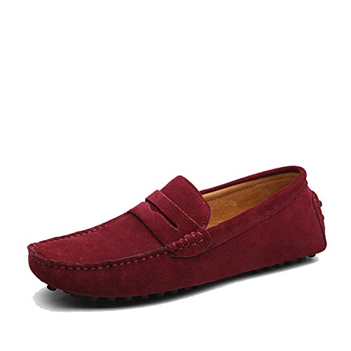 Anewsex Men Casual Shoes Men Shoes Leather Men Loafers Moccasins Slip On Men's Flats Male Driving Shoes 01 Wine 7.5