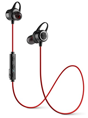 Diginex | Bluetooth Earbuds | Wireless Magnetic Headset | Sport Earphones for Running | IPX7 Waterproof Headphones | 9 Hours Playtime | Stereo Sound | Noise Cancelling Mic | 1 Hour Recharge – Red