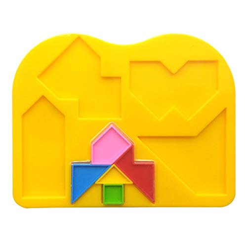 (GARASANI Plastic Tangram 5 Piece Jigsaw Puzzle Colorful Square IQ Game Brain Teaser Intelligent Educational Toys for Kids-Random Color (5 Pieces))