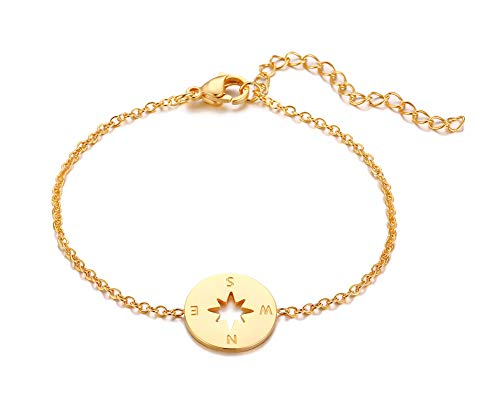 VNOX Fashion 18K Gold Plated Stainless Steel Compass Link Chain Friendship Bracelets,Gift for Best Friend