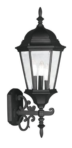 Livex Lighting 7561-04 Outdoor Wall Lantern with Clear Beveled Glass Shades, Black