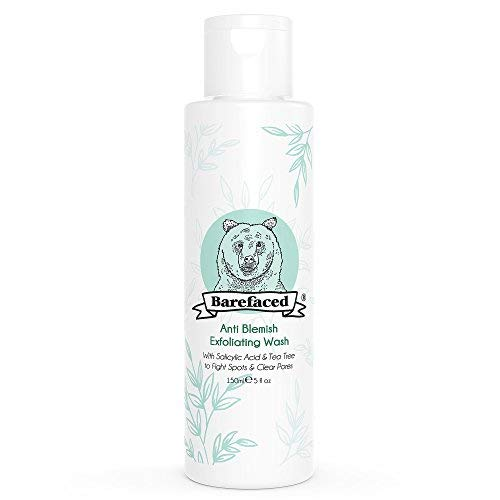 BeBarefaced Natural Anti Blemish Tea Tree and Salicylic Acid (BHA) Exfoliating Face Wash - Vegan and Organic Facial Exfoliator for Oily and Combination Skin - Gentle Anti Shine and Spot Treatment