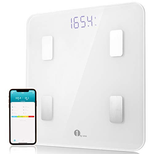 1byone Bluetooth Body Fat Scale with iOS and Android App Smart Wireless Digital Bathroom Scale for Body Weight, Body Fat, Water, Muscle Mass, BMI, BMR, Bone Mass and Visceral Fat, - Digital Scale Wireless