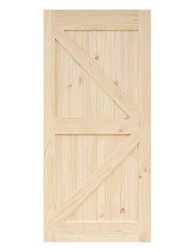 HOMACER Sliding Barn Door Natural Pine Wood Panel Slab, 30in x 84in Right Arrow Design with Frame, Perfect for Interior, Exterior, Closet and Bedroom Use