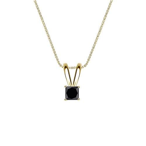 14k Yellow Gold 4-Prong Basket Princess-cut Black Diamond Solitaire Pendant (1/4 cttw, Black)