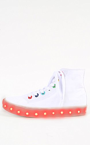 Womens Canvas Multicolor LED Lace Up Casual Sneakers WHITE 10 New: In Box