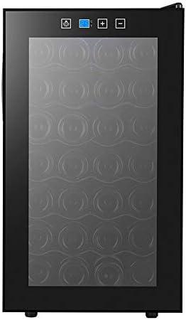 HYYQG 28 Botellas Capacidad de 68L Diseño Puerta Cristal, Marco de Acero Inoxidable y Madera. Panel táctil y Pantalla LED. Tecnología Motionless Evitar Vibraciones, Black