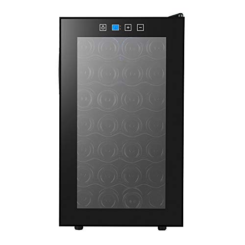 (HYYQG Freestanding Undercounter Slimline Black Wine Cooler Low Noise Level Double Tempered Glass Door and LED Lighting Semiconductor Chip, Black)