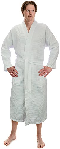 Turkish Linen Men's Waffle Kimono Robes Spa Bathrobe Made In Turkey (XXL, White) …