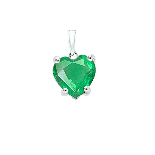 14K White Gold 6 MM Heart Cut Emerald Ladies Heart Shaped Pendant (Emerald Heart Shaped Pendant)