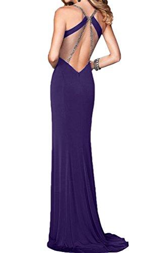ivyd ressing Mujer sexuell V de recorte piedras rueckenfrei funda de línea vestido de fiesta Prom vestido fijo para vestido de noche morado