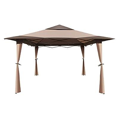ALEKO GZB004 Popup Polyester Gazebo Canopy Patio Coffee Shelter 10 x 10 x 9 Feet Brown