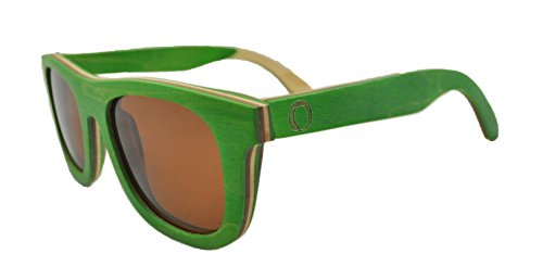 Skateboard Wooden Sunglasses for Men or Women, Wood Sun Glasses in Green with Brown and Natural Layers and Brown Polarized Lenses, Trendy Wood Frame Sunglasses, Wayfarer Sunglasses - Lady Sunglasses With