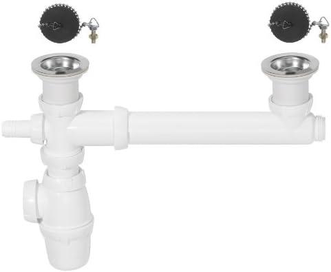 AC-Déco-Sifón de fregadero con toma 2 unidades para lavavajillas ...
