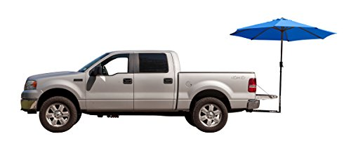 (Tailbrella Blue Tailgate Hitch Umbrella Canopy For Truck SUV Tailgater. 9FT Large Water-Resistant Tailgating Tents for Outdoor Camping, Beach, Travel, Hunting. EZ Pop Up Umbrellas For Shade)