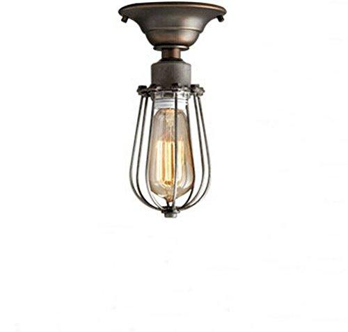 UNITARY-BRAND-Vintage-Barn-Metal-Mini-Semi-Flush-Mount-Light-Max-60W-With-1-Light-Aged-Silver-Finish