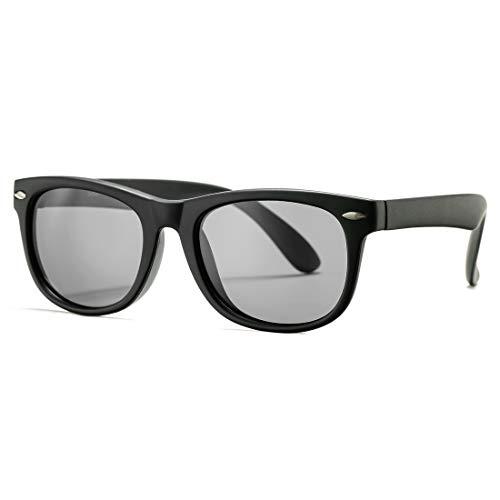 Kids Polarized Sunglasses TPEE Rubber Flexible Shades for Girls Boys Age 3-10 (Matte Black Frame/Grey Lens)