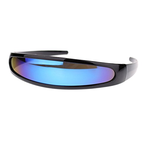 Futuristic Mirrored Lens Cyclops Robot Outter Space Party Shade Sunglasses Black Blue - Space Shades