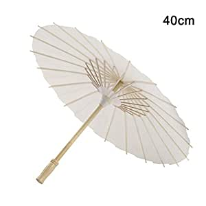 WoJip Oil-Paper White Umbrella China Traditional Dance Props Parasols Hand Made Decorations