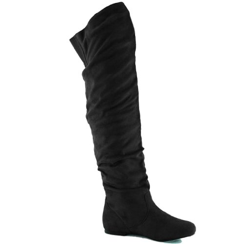 Nature Breeze Women's Vickie Hi Faux Suede Boot,Vickie-Hi2.0 Premium Black Suede 8.5