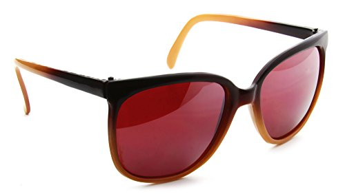 Two Tone Brown Plastic Sunglasses - Square Wayfarer 2 Tone Brown Plastic Frame Mirror Lens Sunglasses