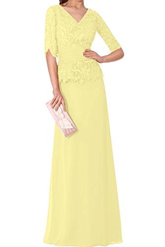V Neck Partykleider Spitze Chiffon Ivydressing Mutterkleider Abendkleider Gelb Halbarm Wertvoll Neu qExxzw7t