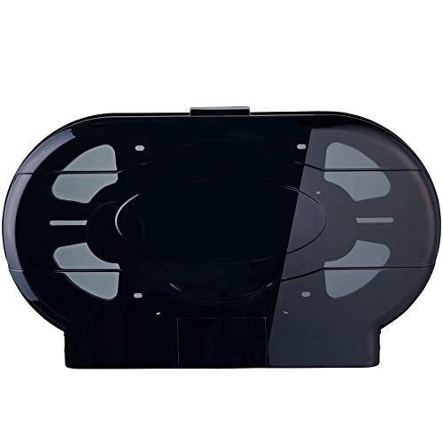 Janico 2010 Twin Toilet Paper Dispenser 9 Inch Double Roll, Wall Mount, Translucent Black