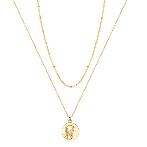 LOYATA Bohemia Layered Necklace, Maria Charm Pendant Neckalce Delicate Station Chain Multilayer Choker Necklaces for Women Girls (Maria) 14k Gold Double Link Charm