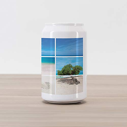 - Lunarable Beach Cola Can Shape Piggy Bank, Collection of Seaside Pictures from The Caribbean Island Aruba Tree Flower Seashell, Ceramic Cola Shaped Coin Box Money Bank for Cash Saving, Beige Blue