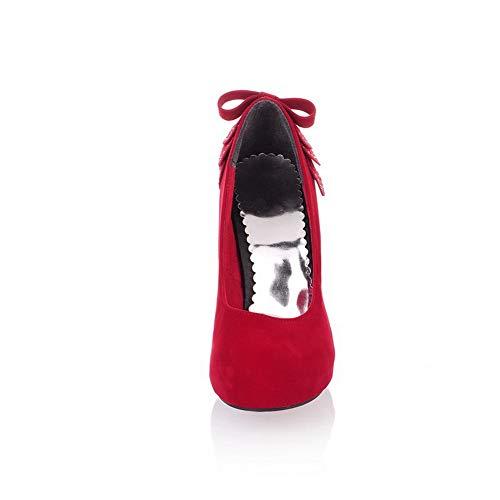 Red Urethane Ruched Womens Shoes APL10398 Solid Pumps BalaMasa Platform qf8vAO
