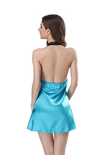Aibrou Lenceria de Mujer, Ropa Interior de Satén y Encaje, Picardias Mujer con Tanga, Pijama Elegante para Diversión. Azul