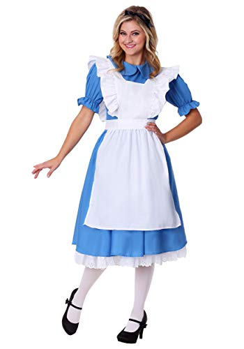 Deluxe Women's Alice in Wonderland Costume Alice in Wonderland Dress Medium (8-10) Blue,White -