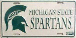 Michigan State Spartans License Plate Tin Sign 6 x 12in