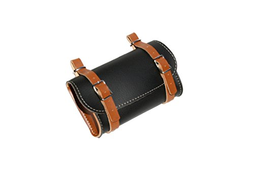 Rear Saddle Bicycle Bag Classic. Bike pannier. Cycling storage. Vintage Style. Simil Leather. Color Black/Honey. 100% MADE IN ITALY by ITALY 74