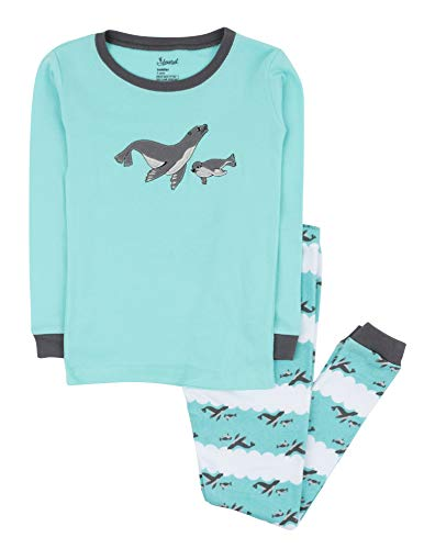 Leveret Kids Pajamas Boys Girls 2 Piece pjs Set 100% Cotton (Sea Lion, Size 14 ()