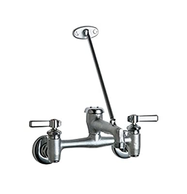 Chicago Faucets 897-RCF Wall Mount Adjustable Center Service Sink Faucet, Rough Chrome