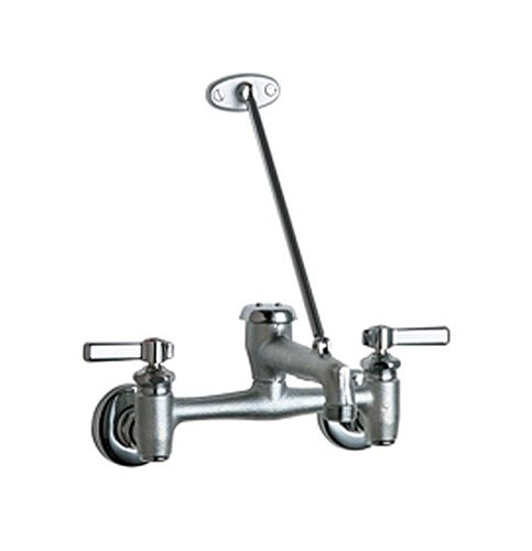 Chicago Faucets GIDDS-231318 897-RCF Wall Mount Adjustable Center Service Sink Faucet, Rough Chrome, 42.00 x 13.50 x 8.75 inches, ()