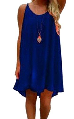Blue Domple Strap Short Beach Howllow Sexy Dark Back Spaghetti Women Out Dress Chiffon 7ar7wqtp