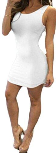 Clubwear Vestito Armato Senza Mini Carro Bodycon Bianco Grande Sexy Donne Linguetta Backless Delle Maniche Dal qBx8OaC
