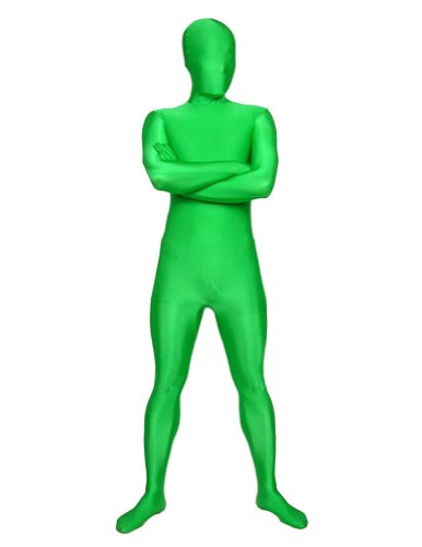 SecondSkin Men's Full Body Spandex/Lycra Suit, Green, (Morph Suit Green)
