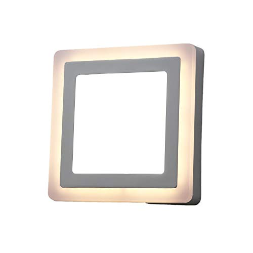 Topmo-plus Surface Mount LED Wall-Ceiling Light / 6W Cool White and 3W Warm White/Slim White Ceiling lamp Floor Light / 3 Mode dimmable/Wall Light/Color Change by wallswitch 900LM Square 15 cm (Spotlight Flush Mount Wall)