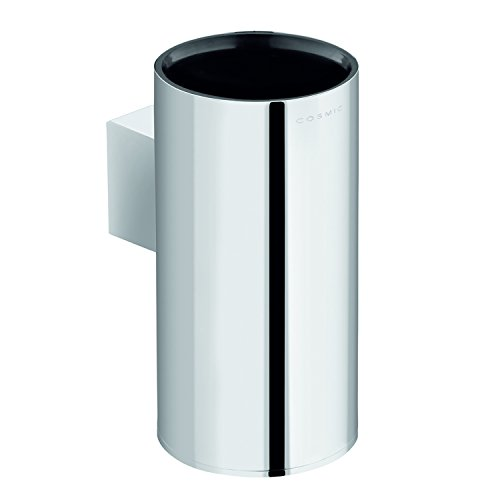 COSMIC Project Bathroom Single Tumbler Toothbrush Holder, Wall Mount, Plastic Cup, Chrome Finish, 2-3/8 x 5-1/2 x 3-9/16 Inches (2510154) by DAX
