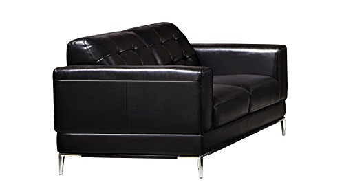 American Eagle Furniture EK003-BK-LS Soledad Mid-Century Modern Italian Leather Living Room Loveseat, 63