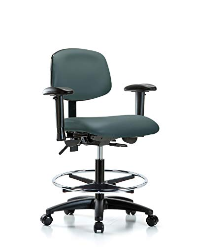 LabTech Seating LT45971 Medium Bench Chair, Vinyl, Nylon Base, Arms, Chrome Foot Ring, Casters, Colonial Blue Base Foot Ring Casters