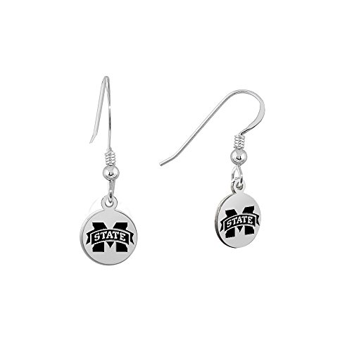 Mississippi State University Bulldogs Satin Finish Small Stainless Steel Disc Charm Earrings - See Model for Size Reference (Bulldog Charm Disc)