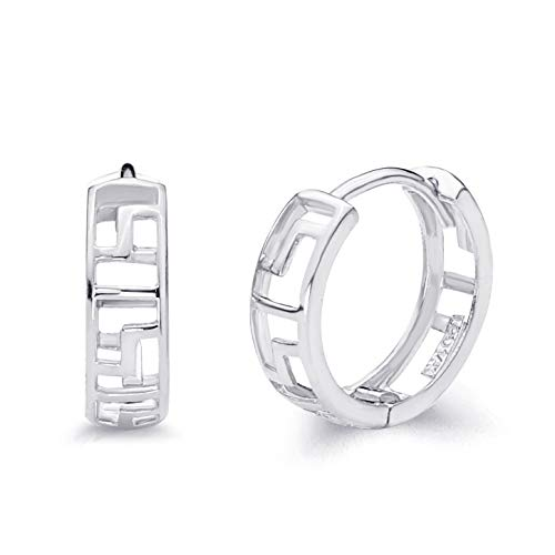 14k White Gold 4mm Thickness Greek Key Huggie Earrings (12 x 12 ()